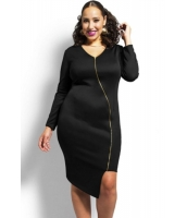 ブラック セクシー ジップ ひざ 着丈 大きいサイズ ドレス cc60563-2