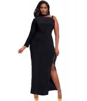 ブラック ワンスリーブ ハイ スリット 大きいサイズ マキシ ドレス cc60890-2