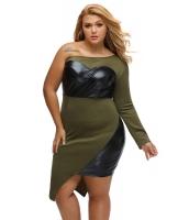グリーン ワンショルダー レザーレット バスト & サイド 大きいサイズ ドレス cc60949-9