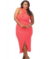 ピンク 大きいサイズ クロス ホルターネック ジャージー ドレス cc61034-3