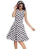 ホワイト ドット・水玉 ボヘミアン プリント ドレス キーホール lc61043-1