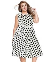 ホワイト 大きいサイズ ドット・水玉 ボヘミアン プリント ドレス キーホール lc61043-1p