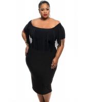 【即納】ブラック 半袖 フリンジ トップス 大きいサイズ ドレス  tk-cc61055-2-2xl