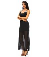 ブラック シークイン アクセント マキシ ドレス cc61075-2