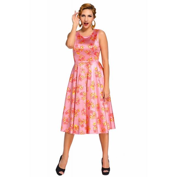 ピンク デジタル 花柄 ビンテージ スイング ドレス cc61114-10