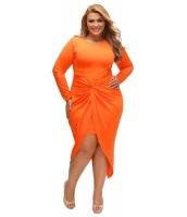 オレンジ 結び目 スリット 長袖 大きいサイズ ドレス cc61249-14