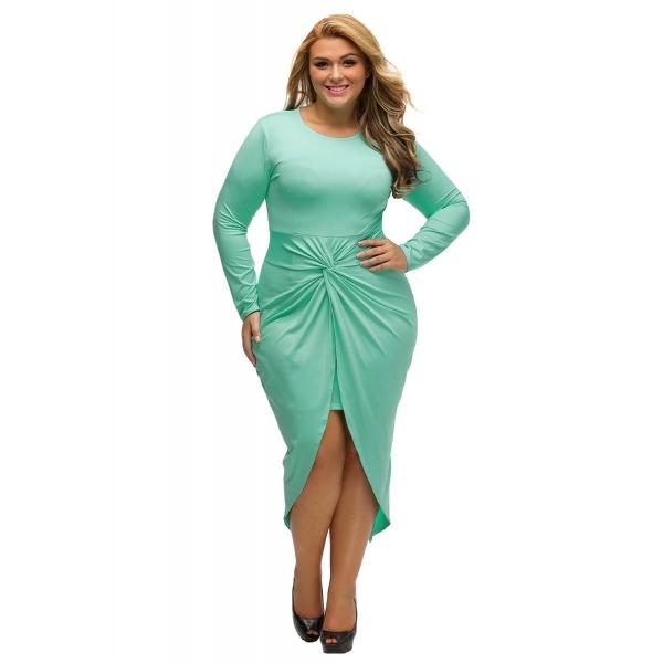 アクア 結び目 スリット 長袖 大きいサイズ ドレス cc61249-9