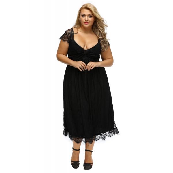 エレガントレース 飾り ブラック 大きいサイズ ドレス cc61268-2