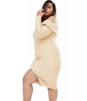 大きいサイズ うねあり コールドショルダー アプリコット 長袖 ドレス cc61277-18