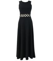 ブラック ケージ ウエスト フィット & フレア マキシ ドレス cc61304-2