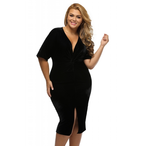 ブラック 着物 袖 結び目 プリーツ フロント 大きいサイズ ドレス cc61307-2