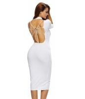 ホワイト ボディコン モック ネックO-リングアクセント カットアウト 五分袖 ミディ ドレス cc61312-1