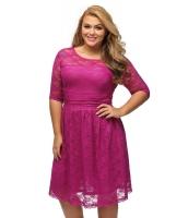 ローズ 7分 袖 レース ウェディング 大きいサイズ ドレス cc61317-6