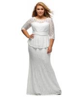 ホワイト フォーマル レース ぺプラム ドレス cc61326-1