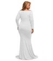 ホワイト オフショルダー Vネック 長袖 大きいサイズ ロング ドレス cc61381-1