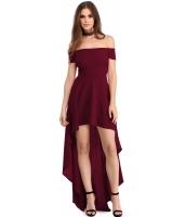 ブルゴーニュ ハイロー 裾周り オフショルダー パーティー ドレス lc61437-103