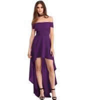 パープル ハイロー 裾周り オフショルダー パーティー ドレス lc61437-8