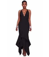 ブラック クロス バック 非対称 裾周り マキシ ドレス cc61524-2