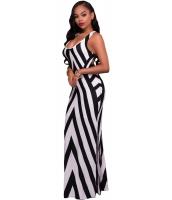 ブラック ホワイト ストライプ カットアウト バック ノースリーブ・袖なし マキシ ドレス cc61526-19