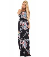 ブラック 花柄 袖なし ロング ボヘミアン ドレス cc61531-2