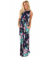 ネイビー 花柄 袖なし ロング ボヘミアン ドレス cc61531-5