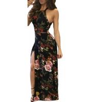 ブラック 花柄 ハイ ネック オープン バック スプリット マキシ ドレス lc61539-2