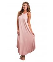 ピンク セクシー シック ノースリーブ・袖なし 非対称 トリム マキシ ドレス cc61547-10