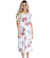 カジュアル デザインポケット ホワイト 花柄 ドレス cc61550-1