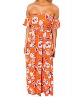 オレンジ 花柄 プリント エラスチック ベアトップ オフショルダー 自由奔放 マキシ ドレス cc61552-1014
