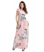 ポケット デザイン 半袖 セクシー 花柄 マキシ ドレス cc61560-10