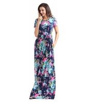 ポケット デザイン 半袖 ブライト ブルー 花柄 マキシ ドレス cc61560-5