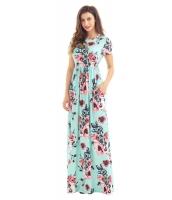 ポケット デザイン 半袖 ミント 花柄 マキシ ドレス cc61560-9