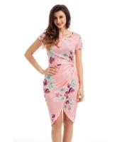 シック サイド結び ラップ ピンク 花柄 ドレス cc61563-10