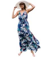 ブルー トロピカル 葉 プリント セクシー Vネック マキシ ドレス lc61569-4