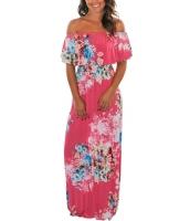 花柄 プリント ローズ グランド オフショルダー ロング 自由奔放 ドレス cc61585-6