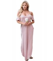 ピンク サッシー オープンショルダーマキシ ドレス lc61588-10