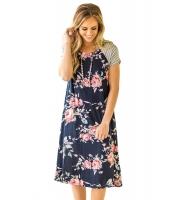 ネイビー ブルー バックドロップ 花柄 Aライン ルーズ Tシャツ ドレス cc61596-2