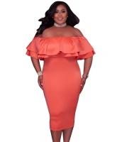オレンジ 多層フリル オフショルダー 曲線美 ドレス cc61611-14p