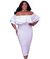 ホワイト 多層フリル オフショルダー 曲線美 ドレス cc61611-1p