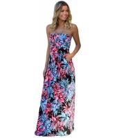 ブラック ネオン ピンク トロピカル ノーストラップ マキシ ドレス ポケット lc61614-3