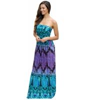 アクア パープル ノーストラップ マキシ ドレス ポケット lc61614-8