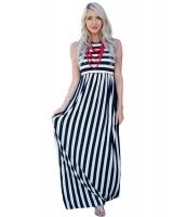 ブラック ホワイト ストライプ ノースリーブ・袖なし マキシ ドレス lc61621-2