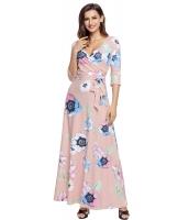 ライト ピンク 花柄 プリント ラップ ロング 自由奔放 ドレス lc61631-10