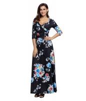 ブラック 花柄 ラップ ロング ボヘミアン ドレス cc61631-202