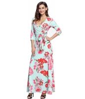 ターコイズ 花柄 プリント ラップ ロング 自由奔放 ドレス lc61631-9