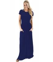 ネイビー ブルー 半袖 シャーリング ウエスト マキシ ドレス lc61635-105