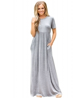 グレー 半袖 シャーリング ウエスト マキシ ドレス lc61635-11