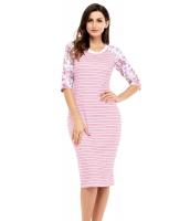 ピンク ホワイト ストライプ 花柄袖 ミディドレス cc61640-10