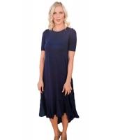 ネイビー ブルー なだらか フリル 半袖 カジュアル ドレス cc61641-5