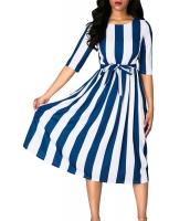 ブルー ストライプ プリント 半袖 ベルト付き ドレス cc61654-5